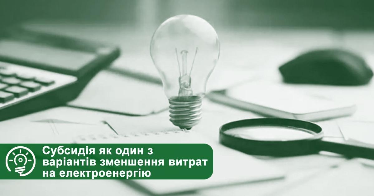 Субсидія як один з варіантів зменшення витрат на електроенергію